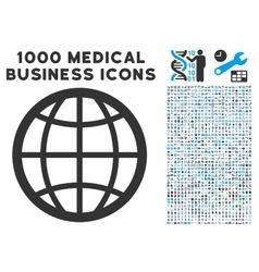 Globe icon with 1000 medical business pictograms vector