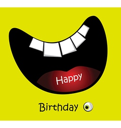 Happy birthday card big smile funny vector