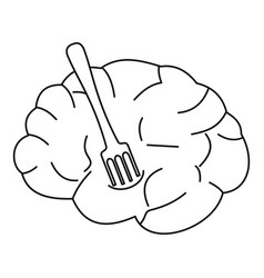Human brain with fork icon outline style vector