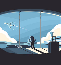 Little boy in airport terminal vector