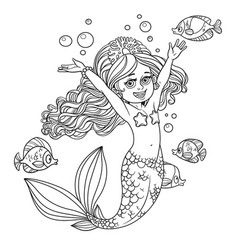 Cute happy little mermaid girl outlined isolated vector