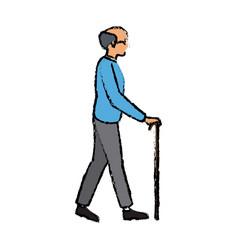 Elderly man bald walk with cane vector