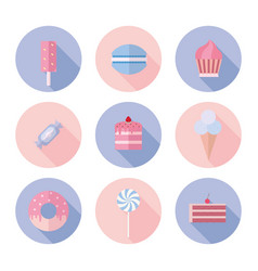 Set of sweet food icons flat style vector