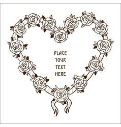 Roses heart frame vector image