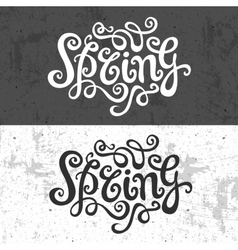 Spring hand lettering - handmade calligraphy vector
