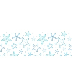 Starfish blue line art horizontal seamless pattern vector