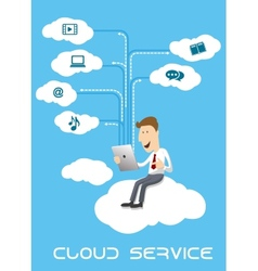 Businessman using tablet pc on cloud service vector
