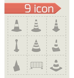 traffic cone icons set vector image