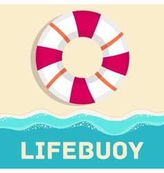 Retro flat lifebuoy icon concept design vector