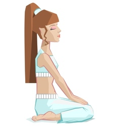 Girl sitting in yoga pose virasana - hero pose vector