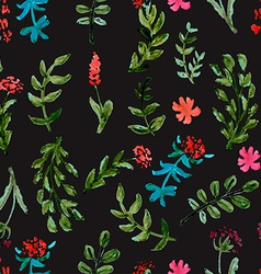 Seamless pattern with watercolor flowers on a dark vector