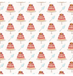 Seamless pattern of cakes vector