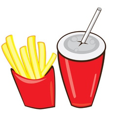 drink and french fries vector image
