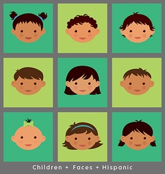 set cute faces Hispanic children flat style vector image