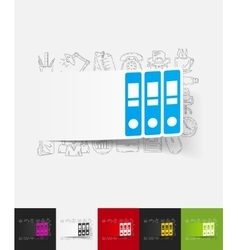 Folder paper sticker with hand drawn elements vector