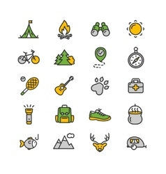 Camping tourism hiking icon set vector