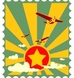 Retro airplanes flight on sun burst backdrop vector
