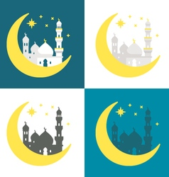 Flat design ramadan background set vector