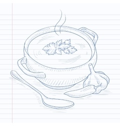 Pot of hot soup vector image