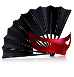 Black fan and red mask vector