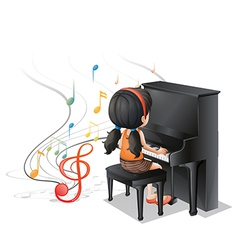 A young girl playing with the piano vector image