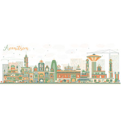 abstract amritsar skyline with color buildings vector image