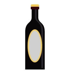black bottle wine yellow cap blank label vector image