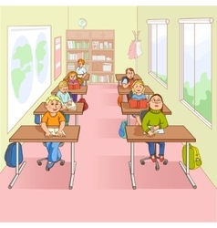 Children in school cartoon vector