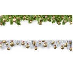 christmas banner with spruce branches and balls vector image vector image