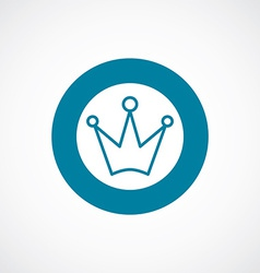 crown icon bold blue circle border vector image vector image