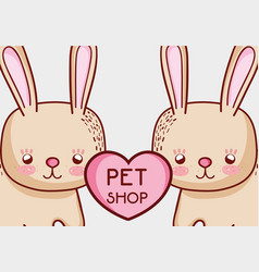 Cute bunnies doodle cartoons vector