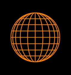 earth globe sign orange icon on black background vector image vector image