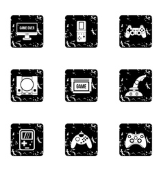 Fantasy games icons set grunge style vector