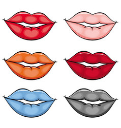 flat girl lips colored set vector image