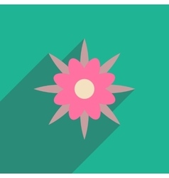 Flat icon with long shadow flower silhouette vector