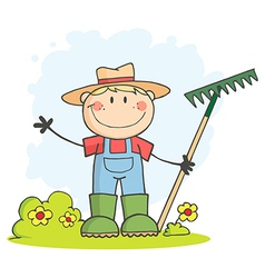 Gardening Boy Waving A Greeting vector image