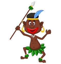 Happy indigenous people cartoon dancing vector