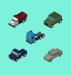 Isometric transport set of freight armored suv vector