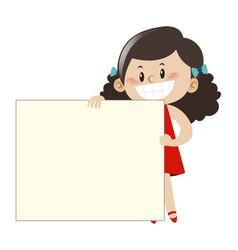 little girl in red dress holding white board vector image