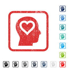 Love in head icon rubber watermark vector