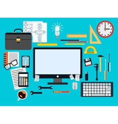 Programmer workplace concept vector