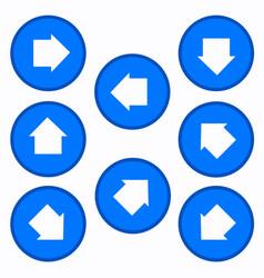 set - arrows in blue circles vector image vector image
