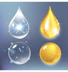 Set collagen drops water vector