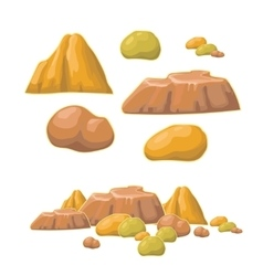Set of cartoon stones and minerals vector