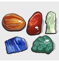 Set of five cartoon stones and minerals vector