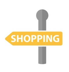 Signpost with the inscription shopping icon flat vector