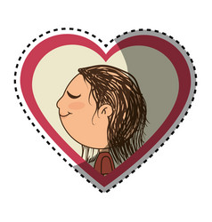 Sticker color silhouette with her in heart frame vector
