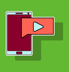 Sticker video buffering streaming on phone icon vector