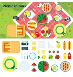 Summer picnic in park banner and icons vector