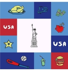 Usa squared concept with doodles vector